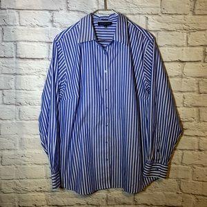 Jones New York 2X blue stripe career shirt 3079
